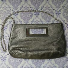 Michael Kors Large Clutch Silver Berkley Pebbled Chain Bag New Years Party