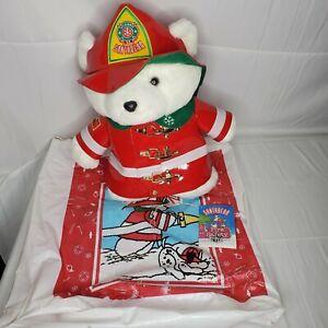 Dayton Hudson 1996 Fireman Santa Bear Christmas Plush with Bag & Safty Book