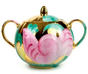 600 ml Pink Bird Porcelain Dulyovo Sugar Bowl Floral Pattern, Made in Russia