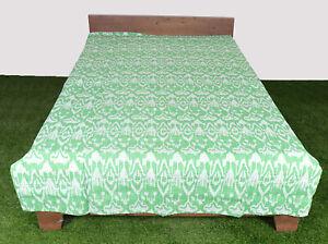 Kantha Quilt Bedsheet Handmade Bedcover Cotton Single Size Green Throw Bedspread