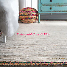 Natural Jute 3 x 5' Braided Floor Decorative Handmade White Reversible Rag Rugs
