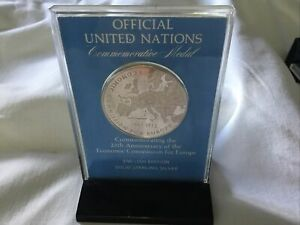 1972 United Nations Sterling Silver Proof Medal 25th Years Economic Commission