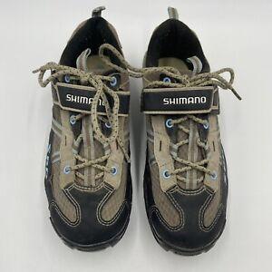 SHIMANO SH-WM41 Womens SPD Clips US 6.5 Mountain Bike Cycling Shoes Brown Blue