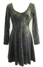 Size 9  Black Crushed Velvet Marnie West Vintage 90s Dress Punk Goth *Must See*