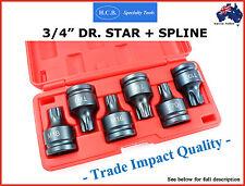 "3/4"" DR STAR & SPLINE IMPACT SOCKET BIT SET HCB TRADE QUALITY TOOLS AIR SPECIAL"