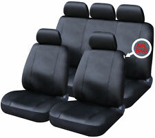 Universal Black Leather Look Car Seat Covers Full Set Washable Airbag Compatible
