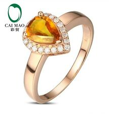 14K Rose Gold 1.28 ct Natural Citrine  0.14ct Full Cut Diamond Engagement Ring