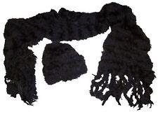 NICE CAPS Womens Fancy Feather Yarn Hat And Scarf Winter Headwear Accessory Set