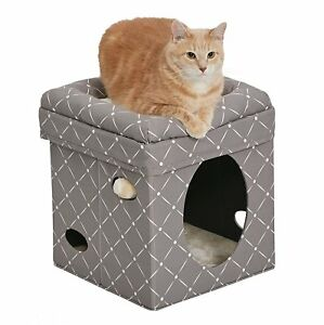 Midwest Curious Cat Cube Elevated Bolstered Bed Hide Away Lounger Mushroom