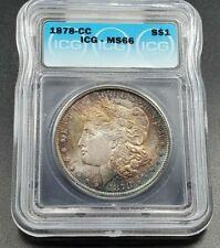 1878 CC Morgan Silver Dollar Coin ICG MS66 PQ * Amber Blue Purple Toning Obverse