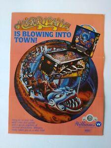 Williams Hurricane Pinball FLYER Original Art Print Rollercoaster 1991 Folds
