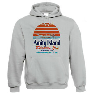 Amity Island, Funny Hoodie Shark Jaws Quints Retro Movie Gift for Him Her