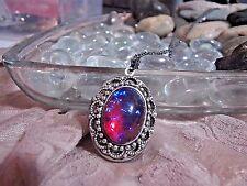 j rose b FANCY SCROLL LACE DRAGONS BREATH FIRE LOCKET fire opal Necklace Pendant