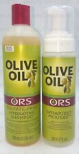 ORS OLIVE OIL SULFATE FREE  SHAMPOO +WRAP SET MOUSSE HAIR TWIN PACK