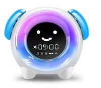 Sleep Training Alarm Clock for Kids Q10 with 7 Colors Night Light 6 Alarm-Blue