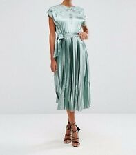 Branded Lace Top Satin Pleated Midi Dress in Mint UK 6/EU 34/US 2