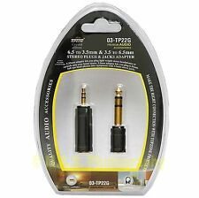 """AUDIO ADAPTER MINI PLUG HEADPHONE JACK 1/8""""TO 1/4"""" 3.5MM TO 6.5MM PACKAGE OF TWO"""