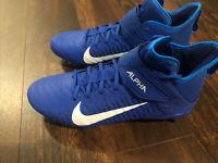 New Nike Alpha Menace Pro 2 Football Lacrosse Cleat Black Size 10.5 Blue White