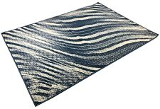 NAVY BLUE IVORY WAVE SWIRL AREA RUGS MODERN CONTEMPORARY AREA RUG 5 X 7, 5 BY 7
