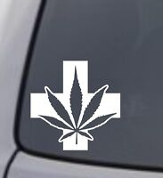 MEDICAL MARIJUANA SYMBOL Vinyl Decal Sticker Window Wall Bumper Weed Pot Dope