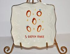 BOOVILLE Magenta Rae Dunn Twelve days of Christmas Holiday Plates 5 Golden Rings