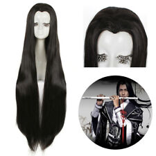 Women Mens Ancient Maple Beauty Tip Black Long Straight Widow's Peak Cosplay Wig