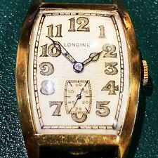 1930's Longines Luminous Dial Men's Wristwatch 14 Karat Gold Needs Service