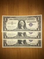 $1 Silver Certificate Set Of 3 Consecutive Serials - Uncirculated Condition