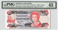 Bahamas 1974 (ND 1984) P-47b PMG Choice Extremely Fine 45 20 Dollars