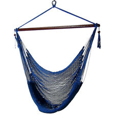 Sunnydaze Extra-Large Hanging Caribbean Rope Hammock Chair - Caribbean Blue