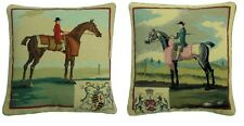 """Pair of 17"""" x 17"""" Handmade Wool Needlepoint Petit Point Horse and Rider Pillow"""
