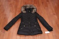 NWT Michael Kors Women Fur Trim Chevron Quilt Down Coat Jacket Black XS S