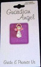 October birthstone Guardian Angel pin, rose zircon crystals