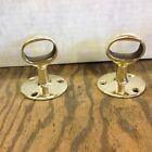 Pair Oval Boat Rail Ends Polished Brass Hole 1 12 By 1