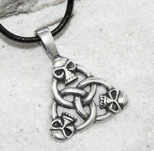 SKULL TRIQUETRA GOTHIC Pewter Pendant Leather Necklace