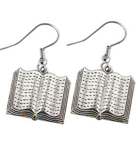 Book Earrings silver pewter charms teacher gift USA-made open style