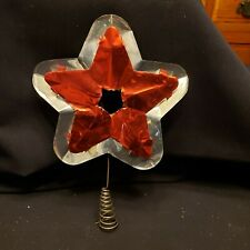 Antique Vtg 1920-30's Silver/Red Doubl-Glo Tin Star- Reflecto-Lite Tree Topper