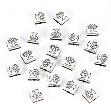 10Pcs 8*8*5mm Square Tree Of Life Alloy Charm Spacer Beads DIY Bracelet Making