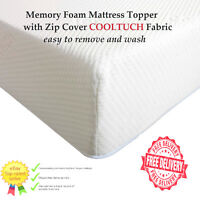Luxury Orthopaedic Memory Foam Mattress Topper with Zip Cover cool tuch