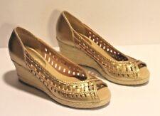 Apostrophe Espadrilles Gold Wedge Slip On Heels Size 6 M