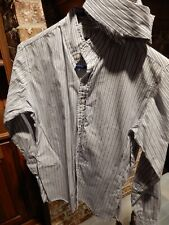 Equestrian Essex English Riding Show Hunt Shirt With Collar Gray Stripe Size 34