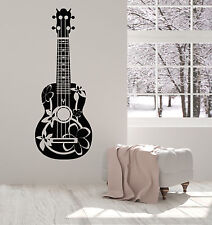 Vinyl Wall Decal Acoustic Guitarist Guitar Musician Flowers Stickers (1421ig)