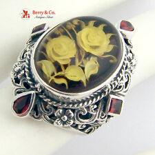 Large Ornate Ring Sterling Silver Floral Designs