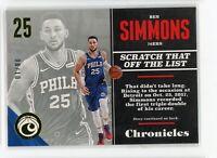 2017-18 Ben Simmons 08/10 Panini Chronicles #67