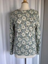 SIZE XL - NEW $36.00 STUDIO WORKS Soft Moss Green Ivory Blue Flowered Top Shirt