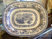 Antique English Staffordshire Transferware Deep Platter Blue & White 15.75 in
