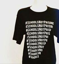 Schools Not Prisons Black T Shirt size Ex Lrg