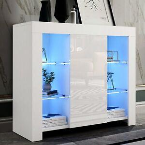 White Cabinet Cupboard Sideboard LED TV Unit Stand Matt Body & High Gloss Doors