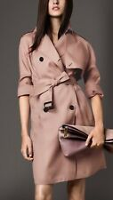 Burberry Silk Trench Coat Long Oversized Pale Nude Morecambe US 8 IT 42 $1450