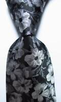 New Classic Floral Black White Gray JACQUARD WOVEN 100% Silk Men's Tie Necktie